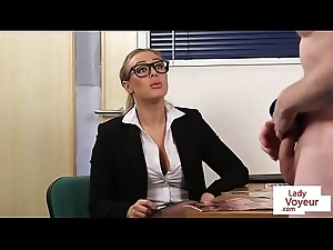 Office femdom humiliates tramp while popular JOI