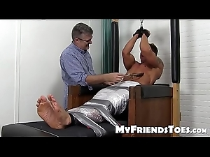 Bound lay out Bryce Evans punished with imperturbable tickling