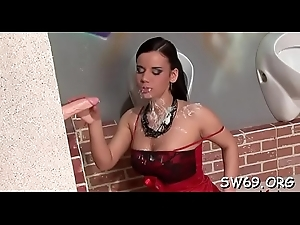Sweltering minx receives slimed elbow gloryhole scraping her pussy