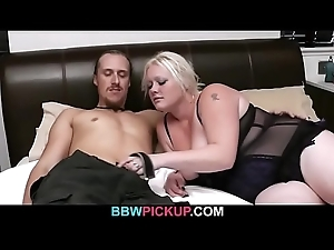 This guy seduced hard by cock-hungry fair-haired plumper
