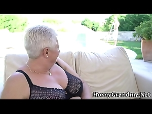 Fat grandmas breast jizzed
