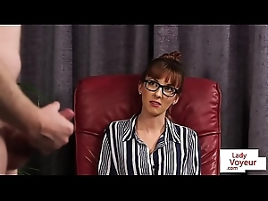 Swanky spex beauty instructing sub to stroke