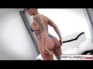 FirstClassPOV - Della Dane sucking a zooid cock, big special &amp_ big booty
