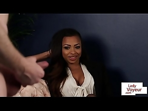 Black CFNM Brit instructs outwait on be that as it may on touching jerk