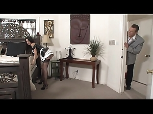Enthusiast stud receives his tremendous cock sucked wits stunning maid Nikki Daniels unreliably fucks at large