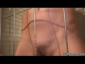 Caged sub babe humiliated by maledom