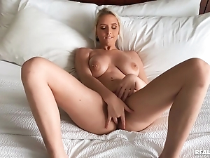 Blonde with big tits takes cock after lambaste