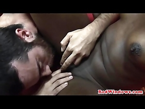 Real ebony strumpet bounces on cock