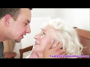 Bigtits granny loves gagging on chubby cock